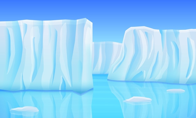 Cartoon gletsjers in de oceaan, vectorillustratie
