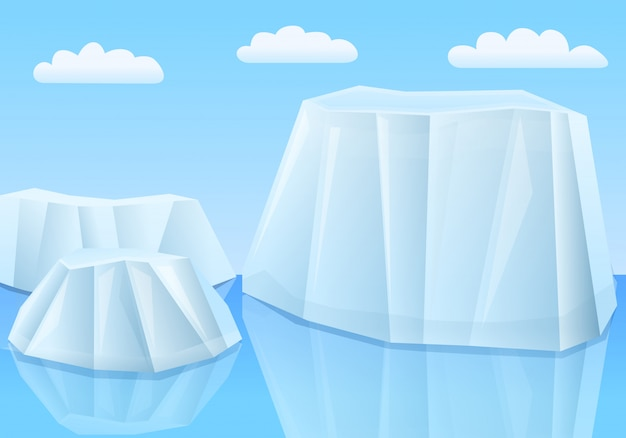 Cartoon gletsjers in de zee, vectorillustratie