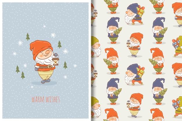 Cartoon gnome hand getrokken kaart en naadloos patroon