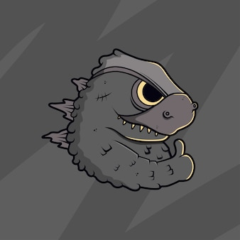 Cartoon godzilla illustratie
