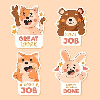 Cartoon goede baan sticker set