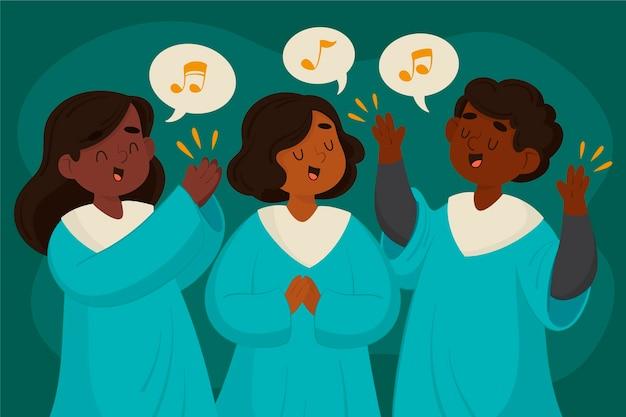 Cartoon gospel koor illustratie