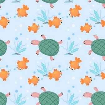 Cartoon gouden vis en schildpad naadloze patroon.