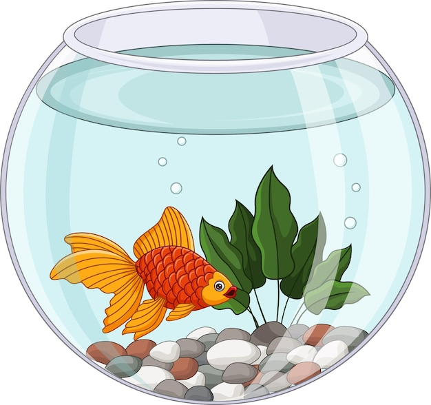 Cartoon goudvis zwemmen in vissenkom