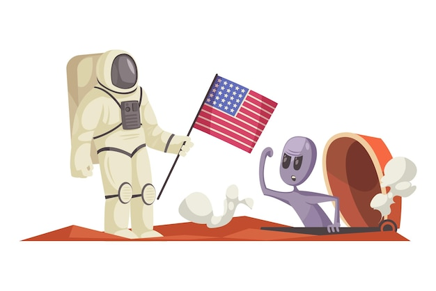 Cartoon grappige alien boos op amerikaanse astronaut in ruimtepak