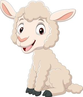 Cartoon grappige baby lam zitten