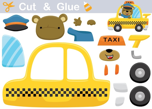 Cartoon grappige beer de taxichauffeur. onderwijs papier spel voor kinderen. uitknippen en lijmen