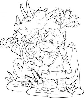 Cartoon grappige dinosaurussen kleurboek