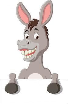 Cartoon grappige ezel bedrijf leeg teken