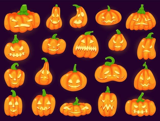 Cartoon grappige halloween pompoenen met enge gloeiende gezichten schattige traditionele lantaarn vector set