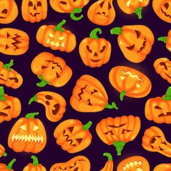 Cartoon grappige halloween-pompoenen met griezelige gezichten vector naadloos patroon