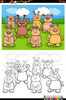 Cartoon grappige honden groep kleurplaten fotoboekpagina