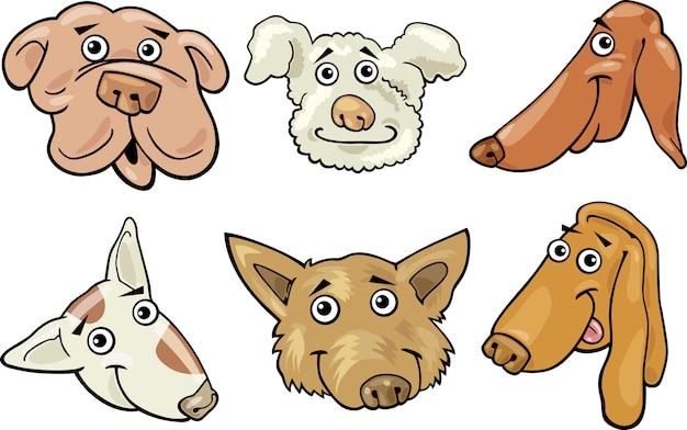 Cartoon grappige honden hoofden instellen