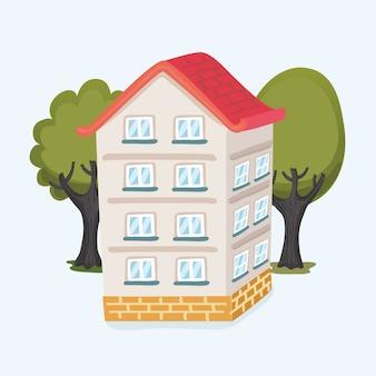 Cartoon grappige illustratie van een cartoon huis en bomen