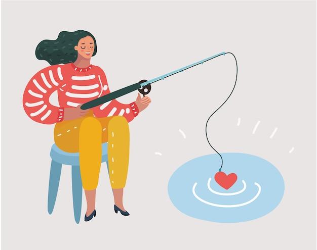 Cartoon grappige illustratie van vrouw wachten op liefde in visserijproces.