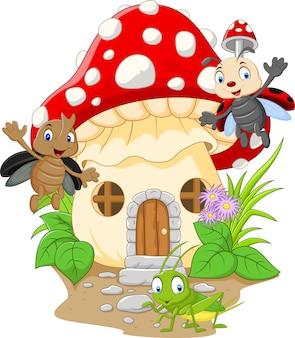 Cartoon grappige insecten met paddestoel huis