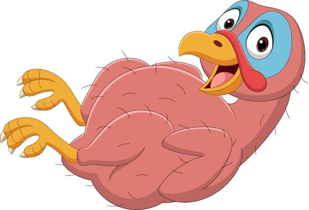 Cartoon grappige kalkoen vogel naakt
