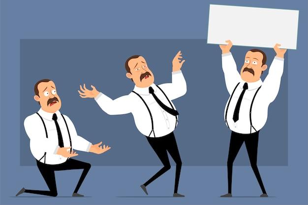 Cartoon grappige kantoormedewerker houdingen geïsoleerd op blauw