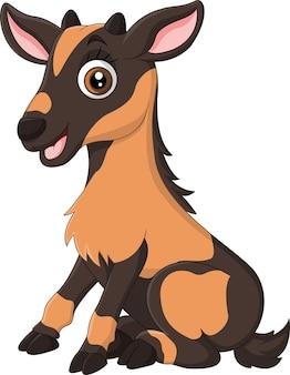 Cartoon grappige kleine geit zitten