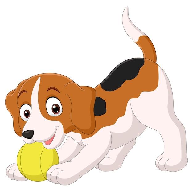 Cartoon grappige kleine hond bal spelen