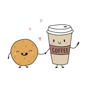 Cartoon grappige koffie en koekjes vectorillustratie in vlakke stijl geïsoleerd op een witte achtergrond