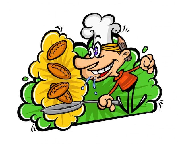 Cartoon grappige kok in een vlakke stijl.