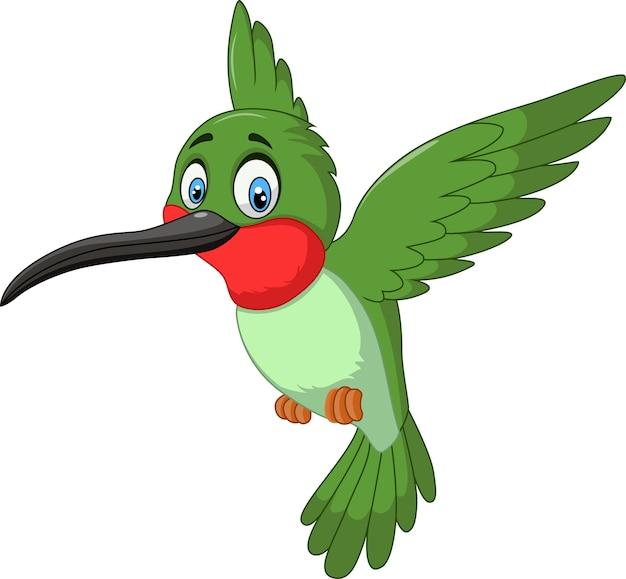 Cartoon grappige kolibrie vliegen