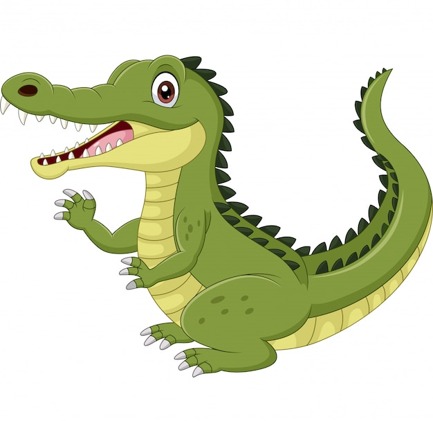 Cartoon grappige krokodil zwaaien hand geïsoleerd op wit