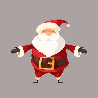 Cartoon grappige lachende kerstman geïsoleerd op grijs