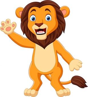 Cartoon grappige leeuw zwaaiende hand