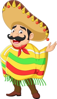 Cartoon grappige mexicaanse man presenteren
