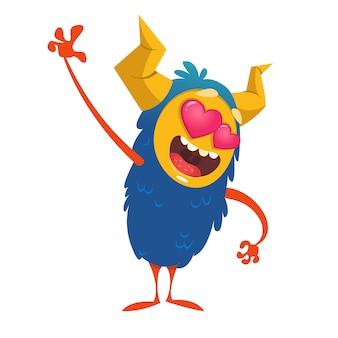 Cartoon grappige monster in liefde. st valentijnsdag illustratie