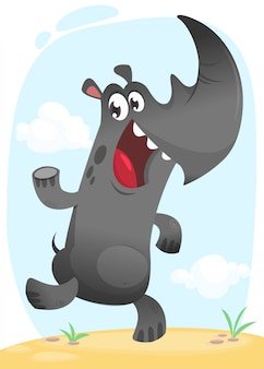 Cartoon grappige neushoorn