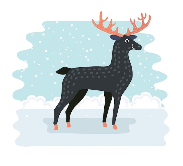 Cartoon grappige schattige herten met rode neus vectorillustratie