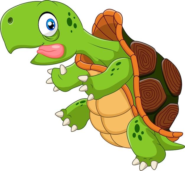 Cartoon grappige schildpad uitgevoerd