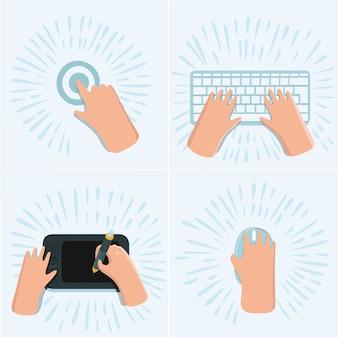 Cartoon grappige set illustratie van hand touchscreen met de vinger, tekenen op grafisch tablet op het bureau, op computermuis, werken op toetsenbord op werkruimte. bovenaanzicht