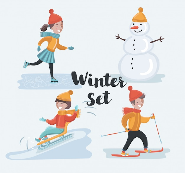 Cartoon grappige set scène illustraties van wintervakantie. skiën, schaatsend meisje, sneeuwman, rodelen. winter kinderen plezier op besneeuwde buitenlandschap. karakters op witte achtergrond