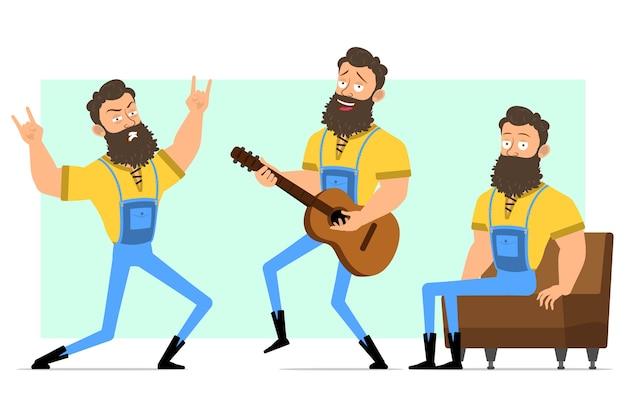 Cartoon grappige sterke bebaarde houthakker houdingen