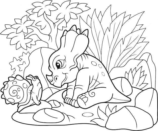 Cartoon grappige styracosaurus Premium Vector