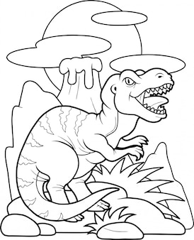 Cartoon grappige tyrannosaurus