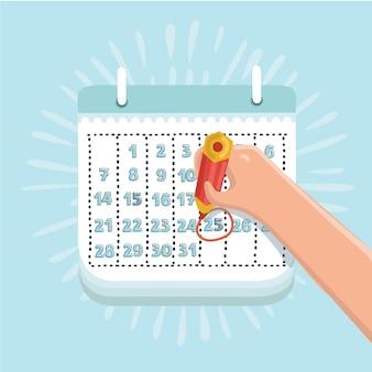 Cartoon grappige vectorillustratie van hand met potlood mark kalender
