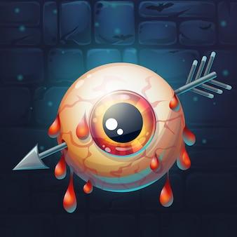 Cartoon grappige vectorillustratie van vreselijke bloedige pijl doorboorde oogbol