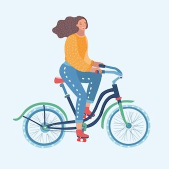 Cartoon grappige vectorillustratie van vrouw rijden fiets