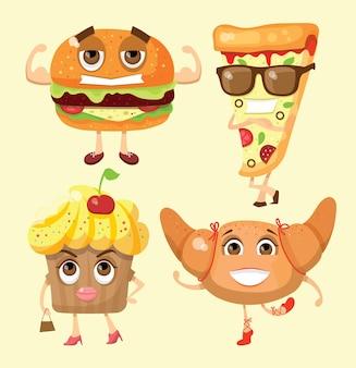 Cartoon grappige voedsel tekens vector illustraties-cupcake, hamburger en pizza met emoties