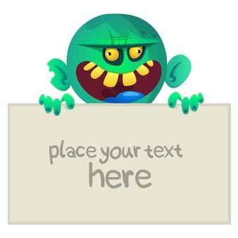 Cartoon grappige zombie bedrijf leeg bord