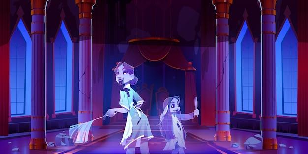 Cartoon griezelige kasteelzaal met geestenillustratie