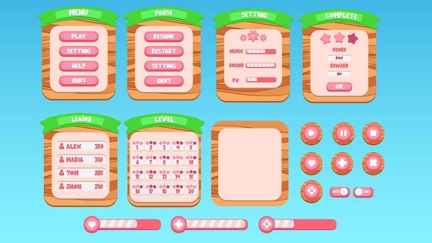 Cartoon groen geschreven in hout patroon mobiele app knop set ui pop-up voltooid niveau premium vector