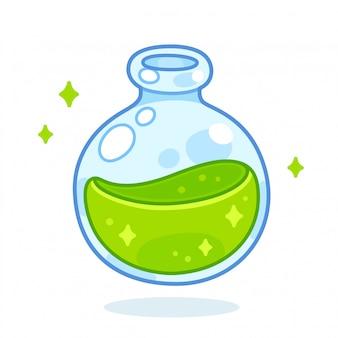 Cartoon groene drankje fles