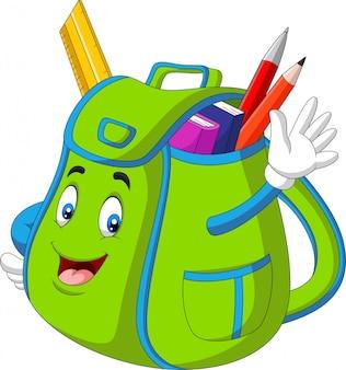Cartoon groene school rugzak zwaaiende hand