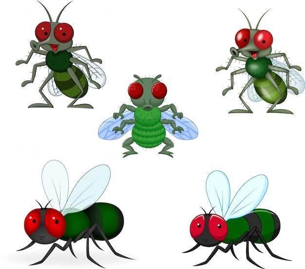 Cartoon groene vliegen collectie set